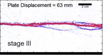 A frame from an animation of the evolution of shear strain in a claybox experiment. A red line, denoting a zone of high strain, horizontally bisects a white background, with blue, lightning-like lines branching off of it sub-parallel to the red line.